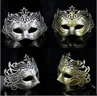antique gold color - Antique Roman Crown Masquerade Mask Sliver Gold Color Half Faces Venetian Mens Mask Halloween Costume Party Masks by DHL