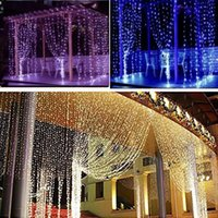 Wholesale 300 LED Curtain Light icicle Christmas String Fairy Light Party Garden Lawn Patio Wedding Decorations V V M x M W HH L04
