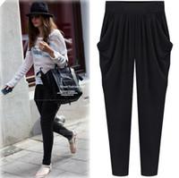 Wholesale Plus Size Summer Women s Loose Harem Pants Lady s Ninth Pants Europe Fashion Felmale Leisure Trousers Black Navy