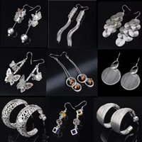 Cheap 925 Sterling Silver Earrings for Women S925 Mix Style Round Loop Drop Earrings Crystal Shine Butterfly Ear Stud Jewelry High Quality
