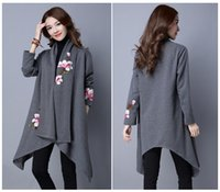 Wholesale In the new winter fashion leisure Ms Han edition long big flower embroidery cardigan trench coat lapels