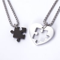 american puzzle - Mens Womens Couple Puzzle Heart Love Colors Stainless Steel Pendant Necklace Gift