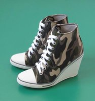 ash shoes sale - Ash Women s Thelma Canvas Wedge Sneakers Camouflage Lace Up Ankle Boots Fashion Trainers Canvas On Hot Sale Tide Casual Sport Shoes