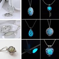 beaded key chains - 1Pc Circular Heart shaped Key Pebble Shape Teardrop shaped Lollow Luminous New Glow In The Dark Jewelry Necklace