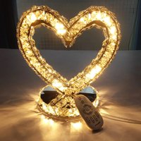 Wholesale Creative heart heart shaped lamp bedroom bedside lamp dimmable table lamp bedside lamp wedding gifts with remote control BT207