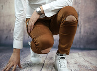 Wholesale New Arrival Famous Balmain Jeans Mens Knees Open Design Vogue Coffee Color Motor Biker Jeans Motorcycles Jeans Travel Jeans Leisure Jeans