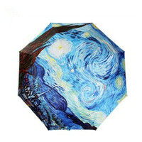 Wholesale Oil Painting Umbrella Rain Women Creative Abstract Art Van Gogh Starry Night Beach Umbrella Anti UV Decorative Umbrella