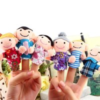 Cheap 6pcs Finger Plush Puppet Happy Family Story Telling Dolls Support Children Baby Educational Toys Free Shipping Wholesale
