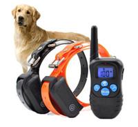 al por mayor corteza de perro a distancia-Collar de perro impermeable del 100% 330 yardas Recargable alejado del perro que entrena el E-collar anti de la corteza con el pitido / la vibración / el choque eléctrico uno a dos