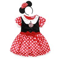 robe pour fille pour enfants achat en gros de-Hot Kids Girl Cartoon Minnie Dress Robe de Noël pour bébé avec Bow Dot Children's Princess Minnie Robes Costume d'Halloween