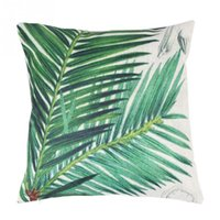 Wholesale 1x cm Cycads Leaf Home Decoration Cushion Cover Pillow Case Linen Pillowcase Cover Linen Square Bedding Home Decorative