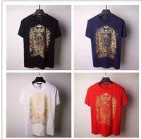 basic cotton pocket tee - 2016 Summer Balmain Pairs Men s Basic Logo Print T Shirt Gold BALMAIN PAIRS Typography Printed Tee Shirt Shipping Worldwide colour