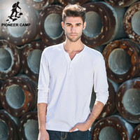 best white tshirts - Pioneer Camp Men Long Sleeve T Shirt V Neck Cotton White T Shirt Men New Fashion Solid Slim Fit Spandex Tshirts Male Best Boyfriend Gif