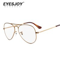 Wholesale Eyesjoy Vintage Eyeglasses Frames Optical Prescrition Glasses With Case and Cloth Alloy Frame Round Glasses Striped Frame Unisex EJ6049
