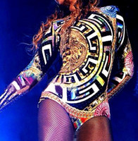 Wholesale stage outfits Dance Costume Dress Hot Sale Lady Women Hot Sexy Nightclub Leopard Singer Jazz Hip Hop Dance Costumes Beyonce Bodysuit