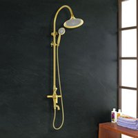 antique bathroom shelf - antique Rain Head Gold Shower Faucet Set Bathroom Shower Tub Mixer Tap with Handheld Commodity Shelf And Hangers Wall Mounted