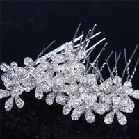Wholesale 20 Pearl Crystal Flower Hair Inserts Only The Bride Wedding Rhinestone Jewelry High end Hair Beauty Dance Party