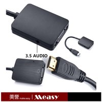 Wholesale Measy H2V HDMI to VGA with mm Audio Cable Video Audio Converter Adapter Plug and play For TV Xbox PS3 PC Laptop DVD
