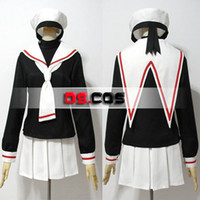 Wholesale Full Set Cardcaptor Sakura Card Captor Sakura School Uniform Anime Cosplay Costume With Hat customized any size