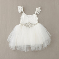 Cheap New Kids Baby Dresses with Diamond Belt White Tulle Lace Beading Princess Children Dress For Wedding Birthday 1-6Y