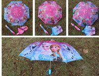 Wholesale 2016 girl favorite popular Frozen Elsa Anna princess kid favorite cm folding foldable Umbrella umbrellas Rain and Sun Proof