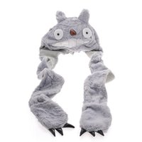 animal hats with paws - 2016 New Plush Cartoon Animal Faux Fur My Neighbor Totoro Hat Women Men s Children Kids Costume Beanie with Long Paw Claw Mittens Gloves