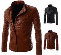 Wholesale 2016 New Hot Selling Slim Motor Punk Men Jackets Coats desinger Zipper PU Leather Jackets Men Casual Tops For Men Clothing