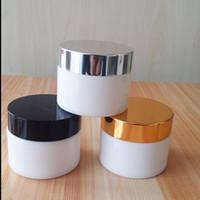 Wholesale FEDEX g g g White Glass Jar Empty Refillable Cosmetic Cream Jar Pot cosmetics packaging