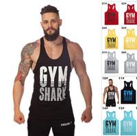 Wholesale 2016 Hot Euramerica Sports Tank Tops For Men Fitness Stringer Cotton Vest Shirts GYM Shark Bodybuilding Mens Muscle Tanks Tops