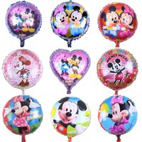 Wholesale 50pcs inch Cartoon Mickey Minnie Pattern Foil Balloons Children Birthday Party Decorations Inflatable Balloons Round Balloons Gift