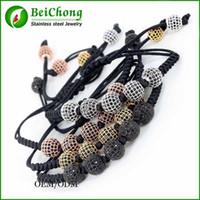 achat en gros de jours bracelet 24k-Cadeau Day BC-244 en Colombie-Britannique Hommes Bracelet or 24K 8mm perles rondes 10mm Micro Pave noir CZ Perles Tressage macramé Bracelet Fit Hommes Père