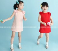 Wholesale Lace Free 7years Girl - 2016 Autumn Summer Girls Lace flower vest Dress girls red & pink vest dresses 2-7years choose free