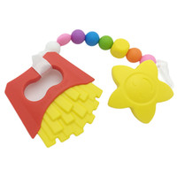 Wholesale BPA Free Silicone Pacifier Holder Clips Baby Toddlers Teething Pendant Beads Clip with Potato Chips in Baby Soother Toys
