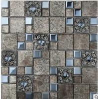 Wholesale High grade crystal glass mosaic plating European TV background wall tile bathroom entrance wall D