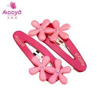 bang snaps - Aiccyo New High Quality Fashion Girls Hair Accessories Rhinestone Snap Clips Flower Bangs Hair Clips Cute Girls BB Clips