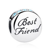 Silver best love movies - Genuine Sterling Silver Charm Beads Best Friend Blue Crystals Dad Fit Pandora Bracelets Bangles High Quality Jewelry New C022