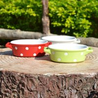 Wholesale porcelain two handled bowl pudding bowl bakery bowl colorful bowl ML good quality