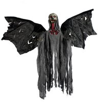 bat wing skeleton - New Halloween Props Scary Winged Bat Skeleton Festival Party Supplies Bar Haunted House Decor Voice Control Tricky Scary Ghost SW0253