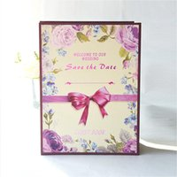 Wholesale Fashion Pattern Love Wedding Guest Book For Special Day Romantic Wedding Souvenirs Gift Purple Flower Wedding Signing Book