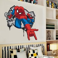 Wholesale hot handsome Spiderman coming in kids rooms decal wall sticker home decor boys bedroom toy gifts nursery cartoon movie poster