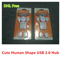 Wholesale New Cute Human Shape Laptop Notebook PC USB Hub Port Male USB Split Extention DHL Free