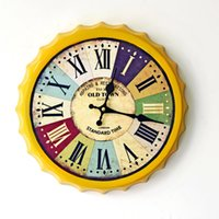 beer clock - Iron Wall Clock Clock Vintage Rome Beer Cover Painted Wall Decoration Home Furnishing C Digital Clock