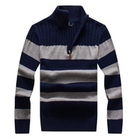 Wholesale Brand logo Casual Mens Sweaters New Pullovers Patchwork Brand Classic Embroidery Cotton Pullover Half zipper Sweater men mens clothing