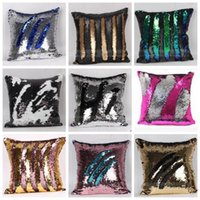 Wholesale Double Sequin Pillow Case Cover Sequins Pillowslip Glow Pillow Case Cushion Cover Bright Mermaid Pillow Covers Home Sofa Car Decor Hot C1279