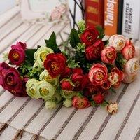 art silk yarn - Wedding Artificial Flowers Bridal Bouquets Peony Home Decor Flores Pompon Fake Yarn Art Stamen Decoration Flowers Wreath QQC143