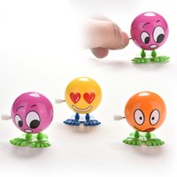 Wholesale 2016 New Spring Baby Toys Friendly Environmental Materials Colorful Funny Face Somersault Running Clockwork Wind up Toy