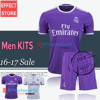 away white jersey - 2017 Real madrid Men Set soccer Jerseys RONALDO home white away Purple kits JAMES BALE RAMOS ISCO football shirt with shorts