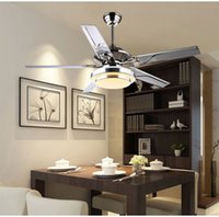 Wholesale Dining room living room ceiling fan lights LED European modern simple fashion cuntie leaf fan lights with remote control inch