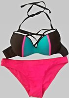 bandage tights - 2016 women brand fashion sexy bandage Bikini sexy pink swimwear female tight two sets bikinis plain army green swimwears high quality