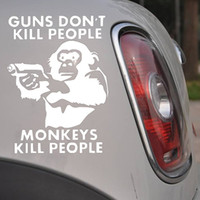 Wholesale Funny Monkey Car Stickers Holding Guns Animals Decals PVC Removable Auto Body Decorative